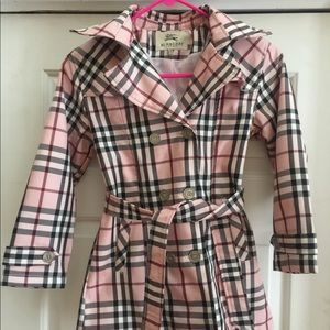 Girls authentic Burberry plaid trench coat
